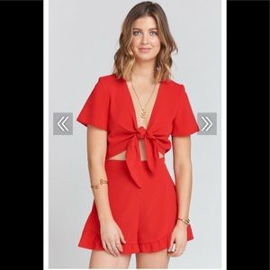 Riviera Romper in Tango Red Crinkle Stretch